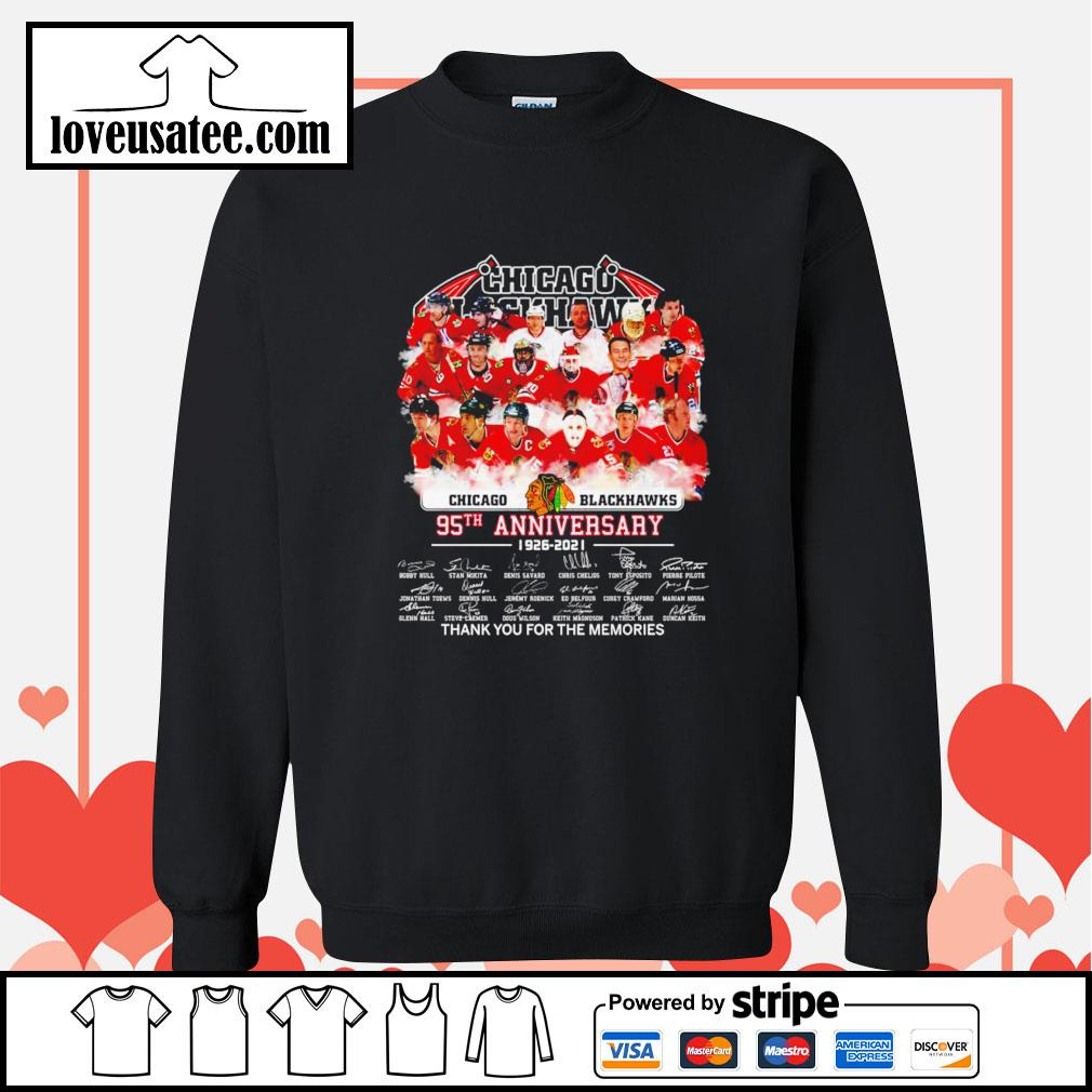 Chicago Blackhawks 95th anniversary thank you for the memories signatures Sweater