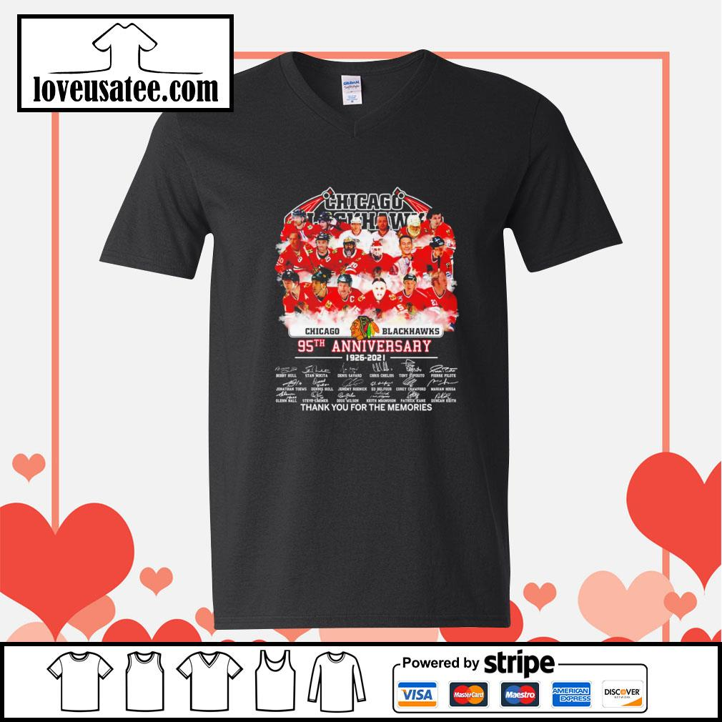 Chicago Blackhawks 95th anniversary thank you for the memories signatures V-neck-T-shirt