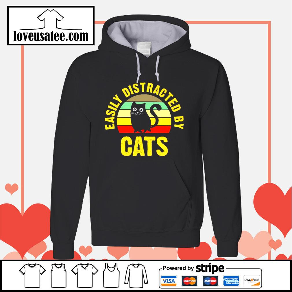 Easily distracted by cats vintage Hoodie