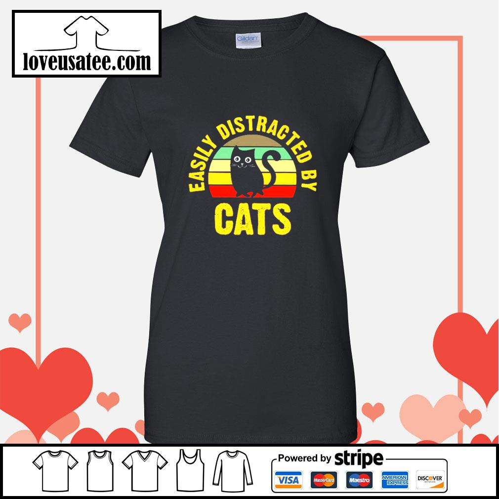 Easily distracted by cats vintage Ladies-Tee