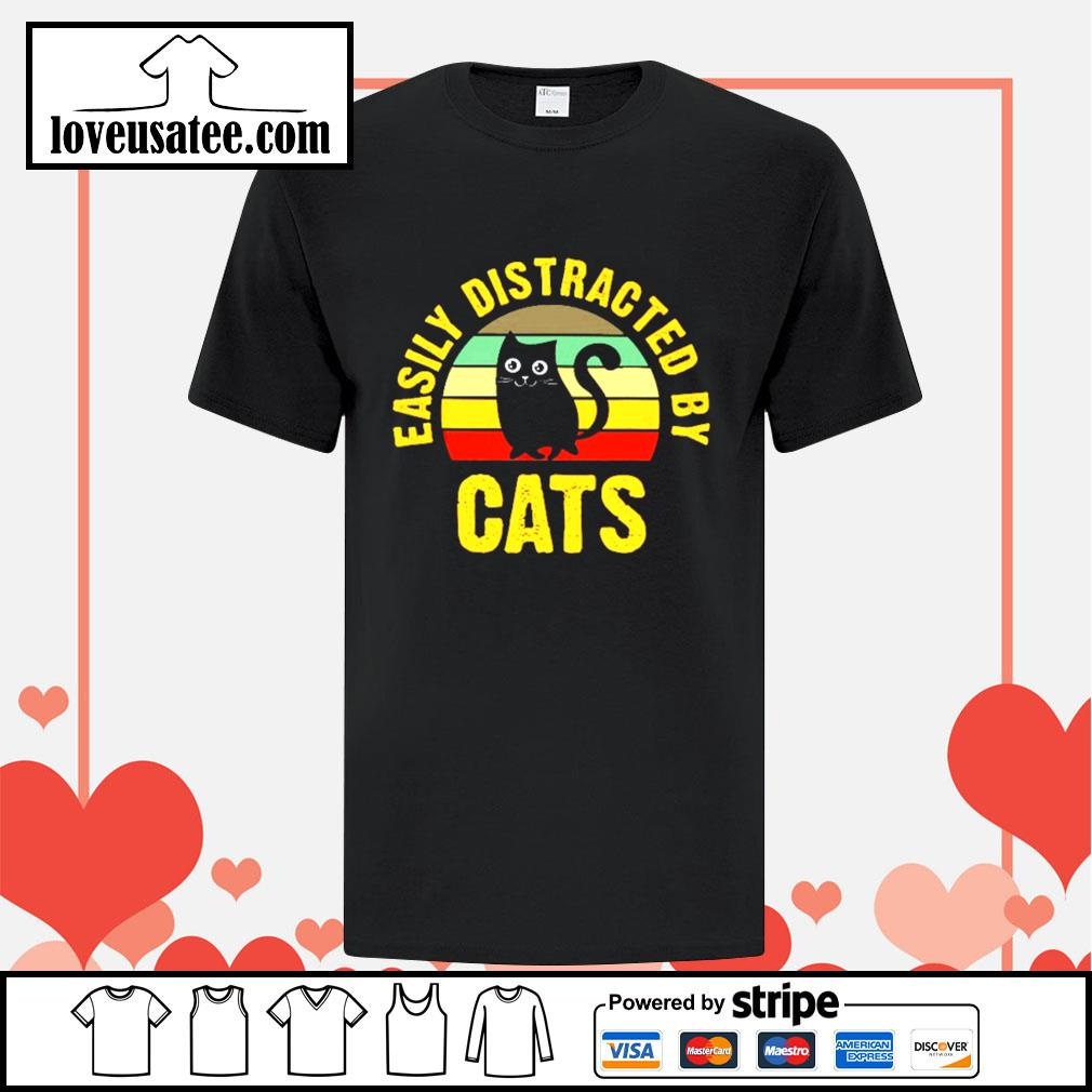 Easily distracted by cats vintage shirt
