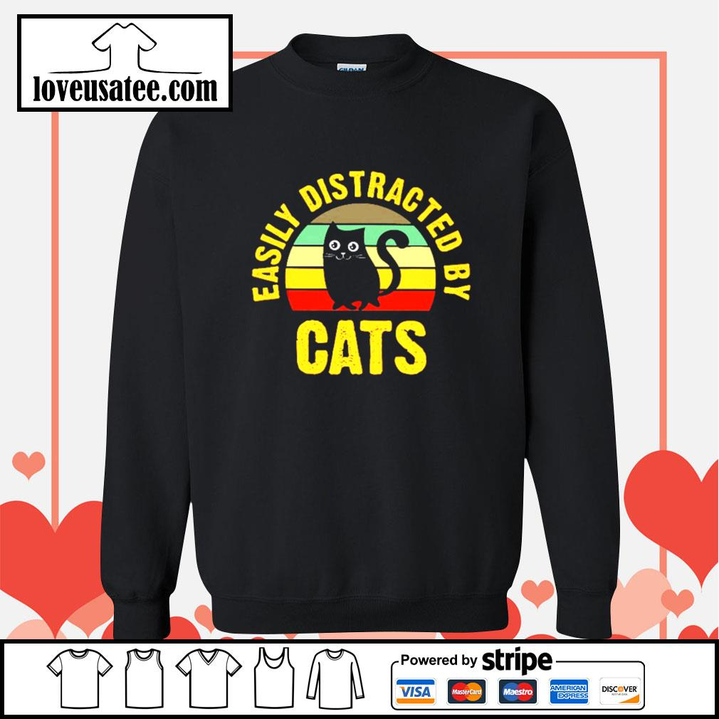 Easily distracted by cats vintage Sweater
