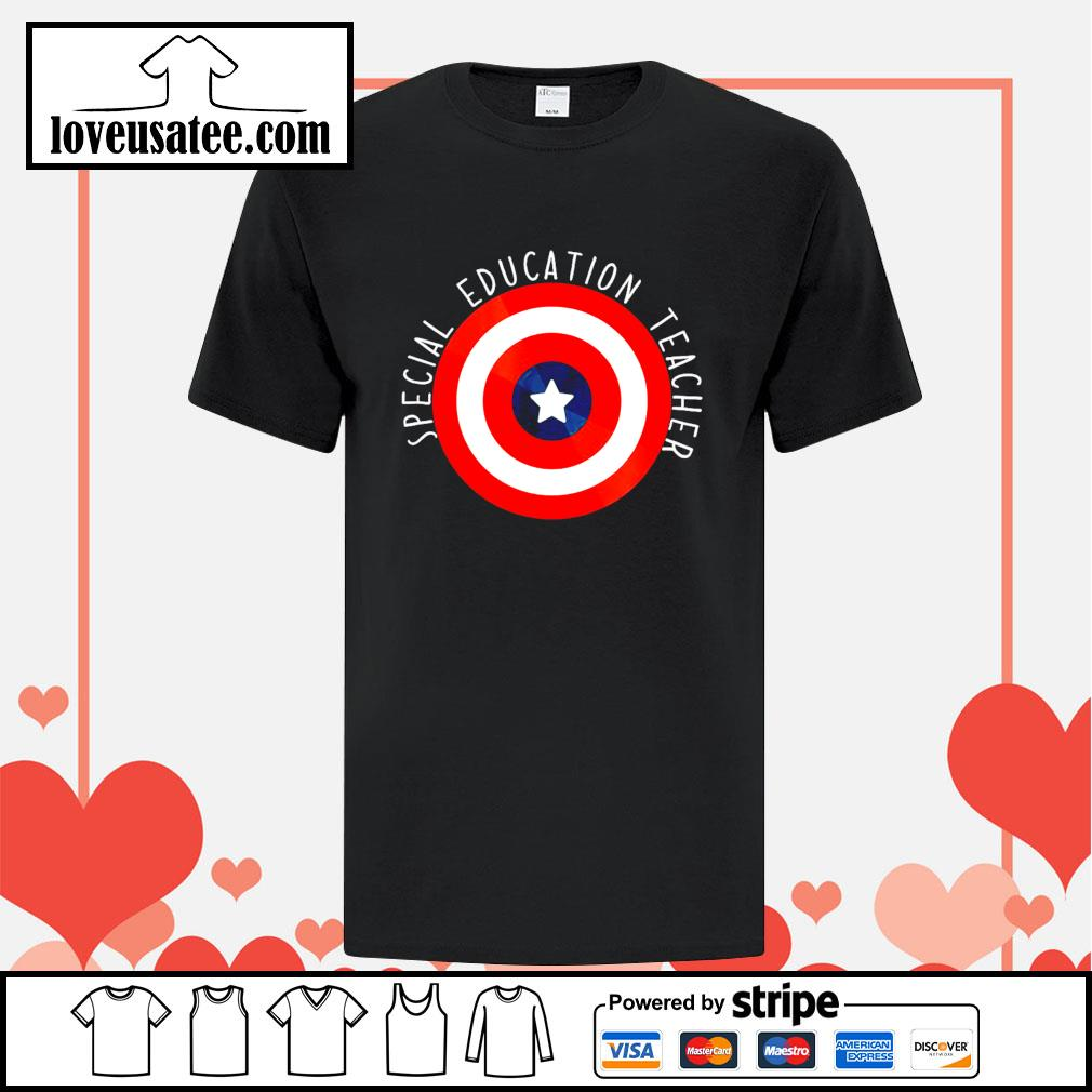 Captain america shield special education teacher shirt