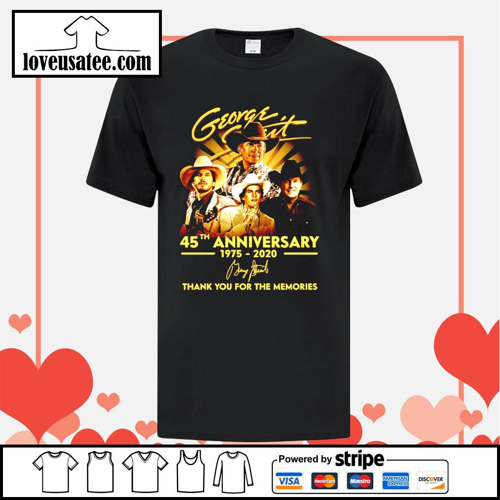 George Strait 45th anniversary 1975 2020 thank you for the memories signatures shirt