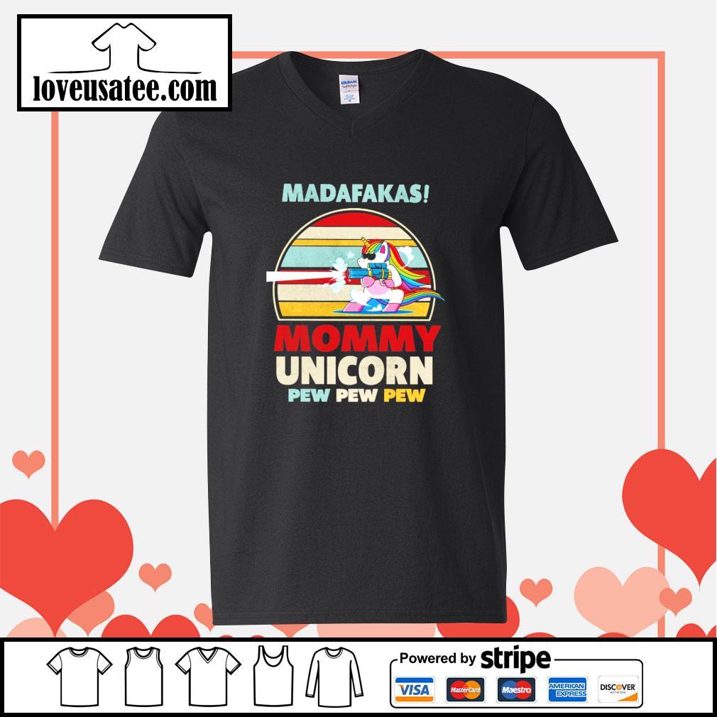 Madafakas mommy unicorn pew pew pew vintage s v-neck-t-shirt