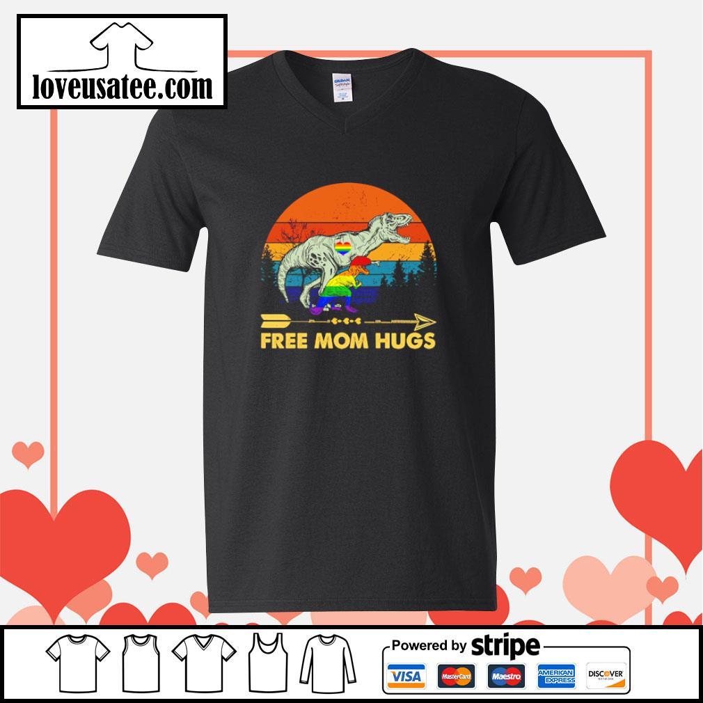 Tyrannosaurus free mom hugs LGBT s v-neck-t-shirt
