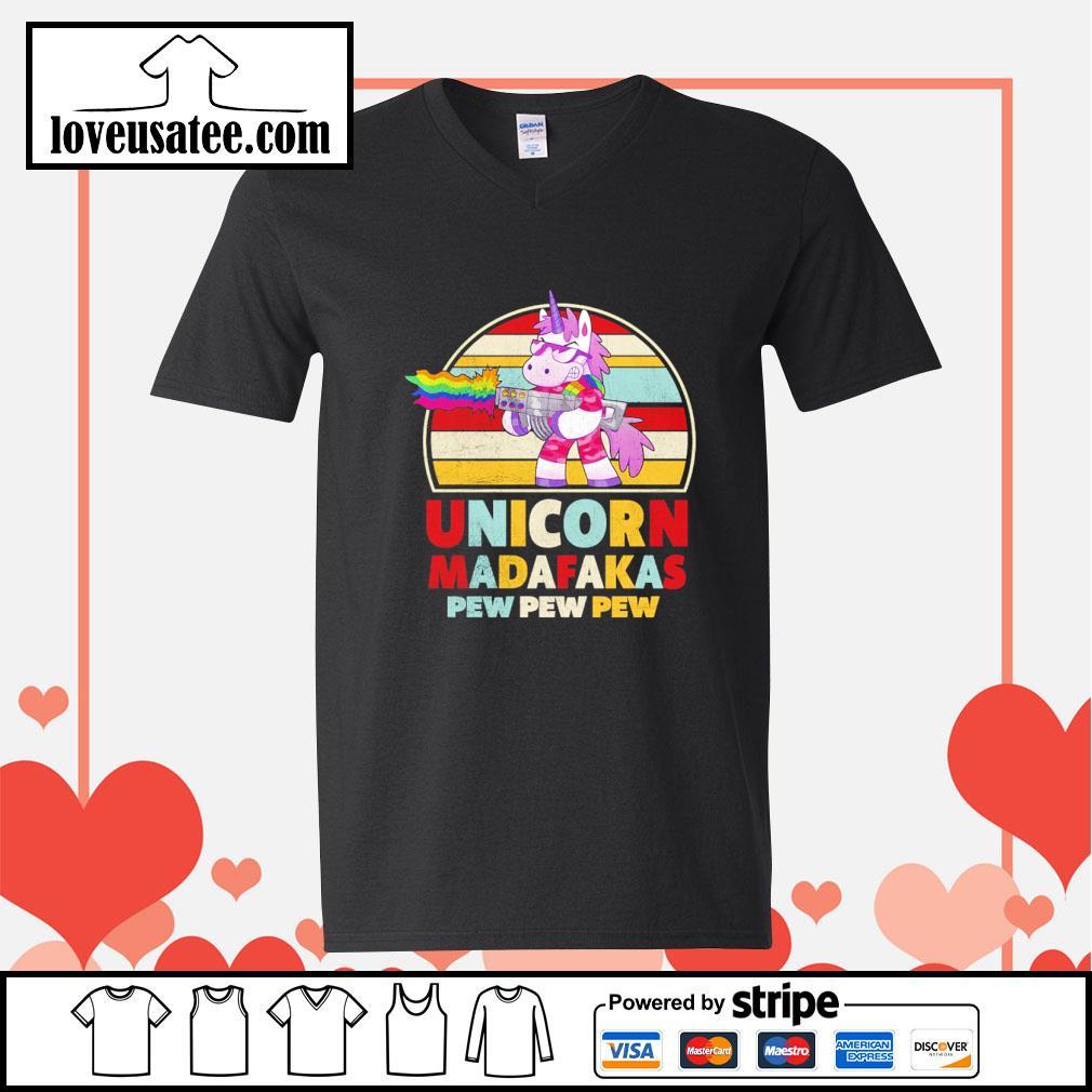 Unicorn madafakas pew pew pew vintage LGBT s v-neck-t-shirt